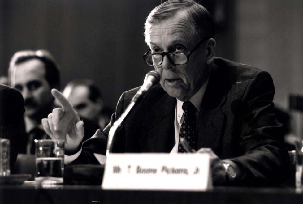 T. Boone Pickens testifies before Congress on oil and gas industry trends in the early 1990s.
