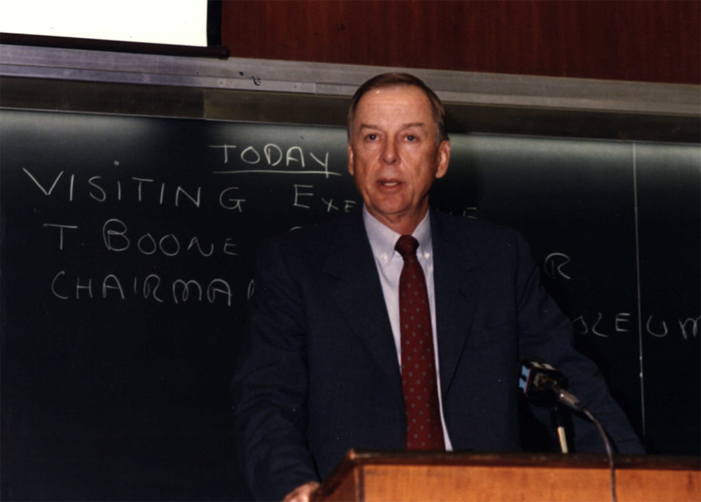 T. Boone Pickens delivers a guest lecture at Wichita State University in the early 1980s.