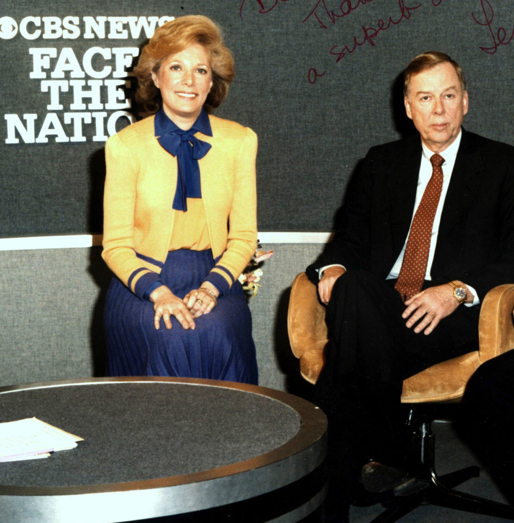 T. Boone Pickens and Leslie Stahl on the set of the CBS news interview show Face the Nation in the early 1980s.