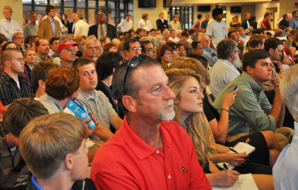 A standing-room crowd of about 500 people attended a T. Boone Pickens town hall meeting at The Zone at Bryant-Denny Stadium on Oct. 18, 2010.