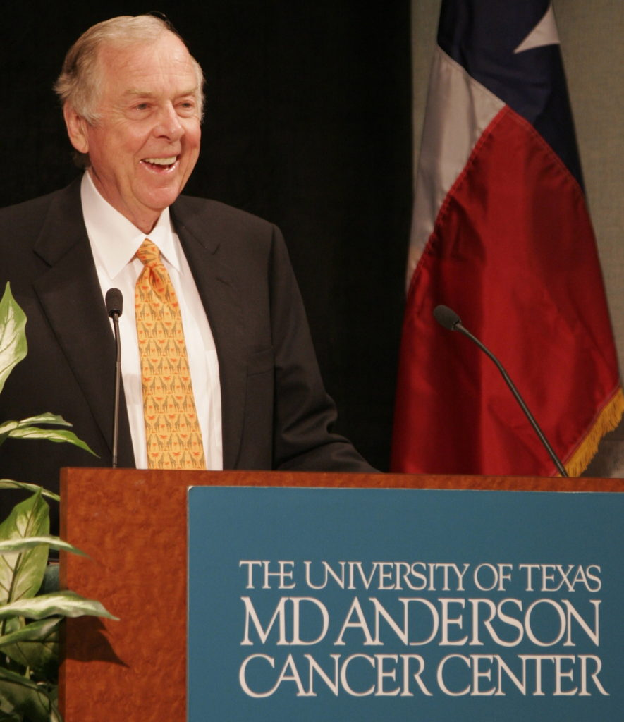 T.Boone Pickens speaks during October 2008 ceremonies dedicating a 21-story, 730,000-square-foot T. Boone Pickens Academic Tower on the campus of the University of Texas MD Anderson Cancer Center. Pickens, a longtime supporter of the institution, in 2007 challenged the Houston-based, world-recognized center devoted exclusively to cancer patient care, research, education, and prevention to grow his foundation's gift of $50 million, its largest to date, to $500 million over 25 years.
