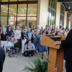 T. Boone Pickens addresses the crowd during the September 16, 2010, formal dedication of the $6-million Walt Humann & T. Boone Pickens Community Center and Resource Center at Jubilee Park in South Dallas. Pickens provided funding for the center, a linchpin for revitalization efforts in the area by community organizations and the city.