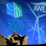 Acclaimed documentary host and network news anchor Bill Kurtis serves as moderator for a conversation with T. Boone Pickens during the American Wind Energy Association WINDPOWER 2009 Conference in Chicago, Illinois.