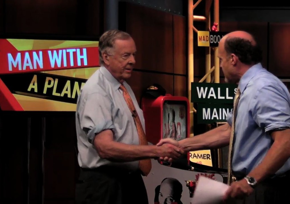 T. Boone Pickens appears on Jim Cramer's Mad Money on October 16, 2008.