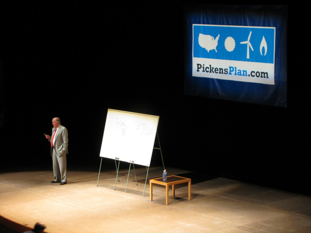 T. Boone Pickens talks during a Pickens Plan town hall meeting at the University of Michigan on October 1, 2008